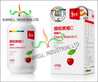 Fruit Vitamin Bottle Medicine Packaging Box CMYK Color Printing Cardboard